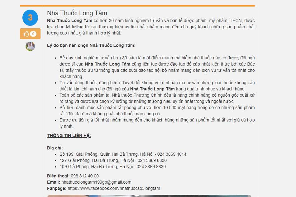 Trang báo uy tín toplist đánh giá chuỗi nhà thuốc Long Tâm uy tín