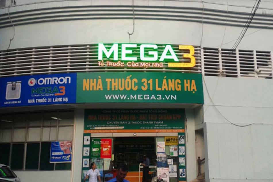 Mặt trước siêu thị thuốc Mega3 31 Láng hạ