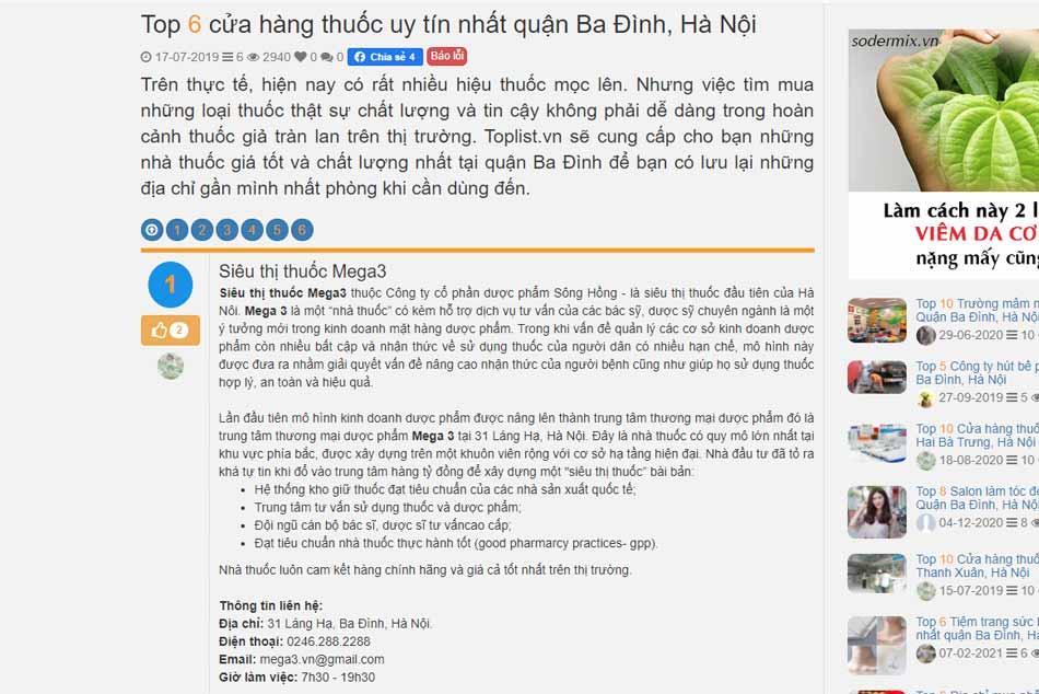 Siêu thị thuốc Mega3 lọt vào top 6 nhà thuốc uy tín trong quận Ba Đình, Hà Nội