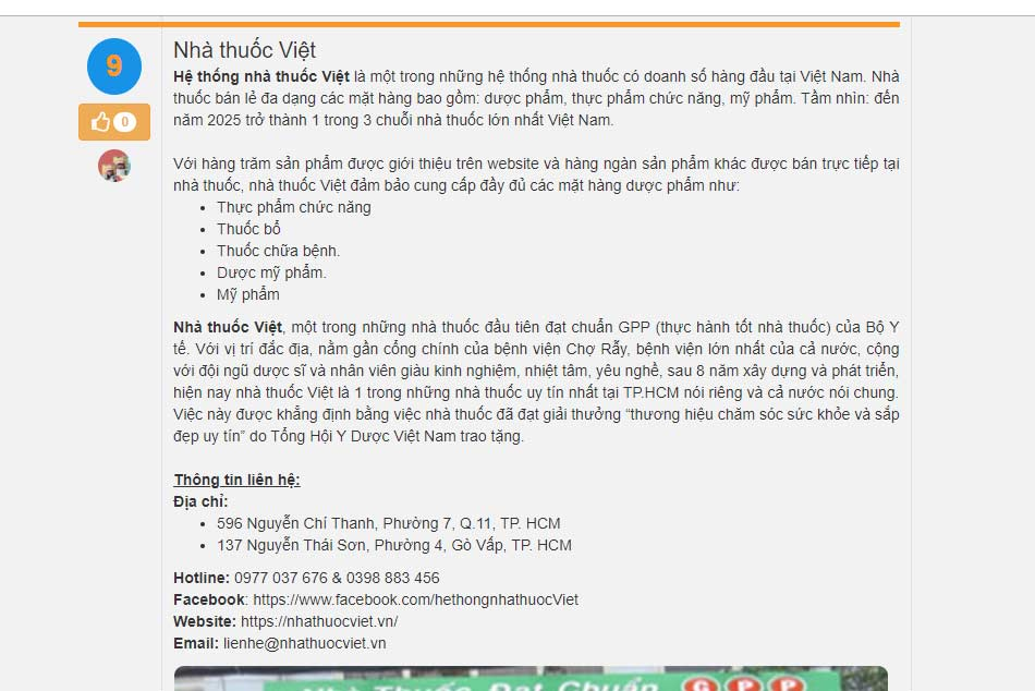 Nhà thuốc Việt được đánh giá trong top 10 nhà thuốc uy tín Thành phố Hồ Chí Minh