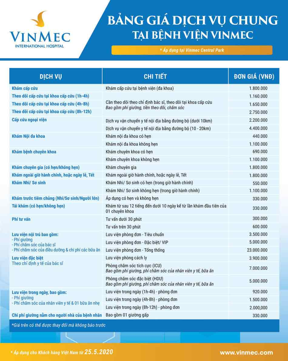 Bảng giá chung tại bệnh viện Đa khoa Vinmec